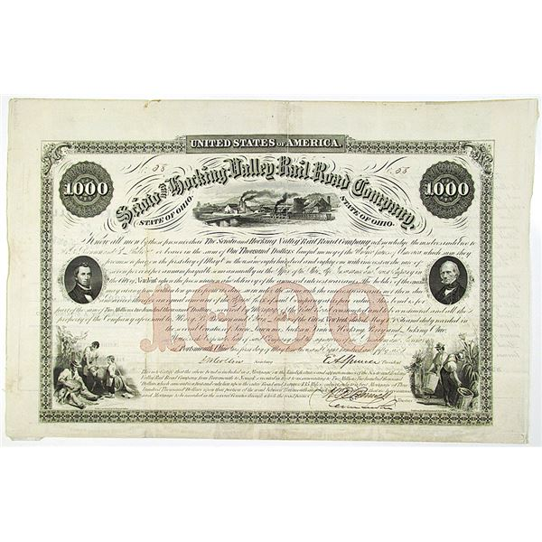 Scioto and Hocking Valley Rail Road Co. 1856 I/U Bond