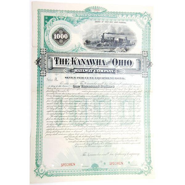 Kanawha and Ohio Railway Co., 1887 Specimen Bond
