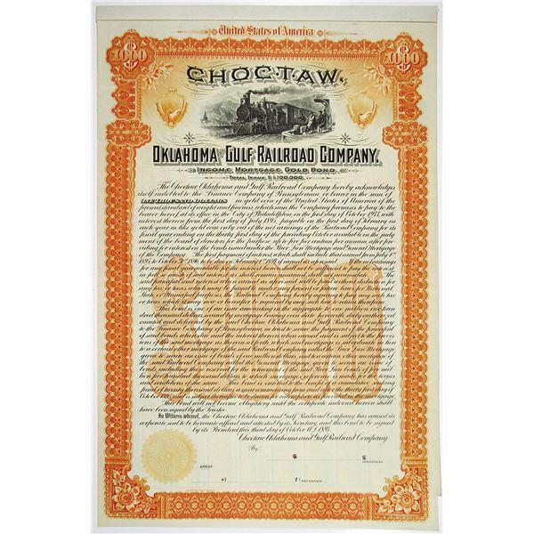 Choctaw, Oklahoma and Gulf Railroad Co. 1894 Specimen Bond