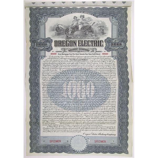 Oregon Electric Railway Co. 1908 Specimen Bond Rarity
