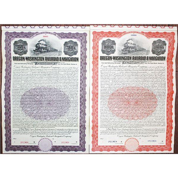 "Oregon-Washington Railroad & Navigation Co. 1911 ""Series A"" Specimen Bond Pair"