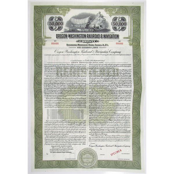 Oregon-Washington Railroad & Navigation Co., 1945 Specimen Bond Rarity