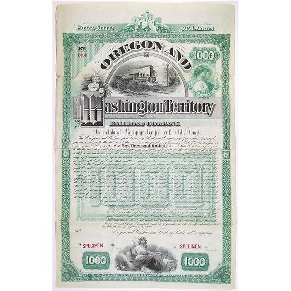 Oregon and Washington Territory Railroad Co. 1890 Specimen Bond Rarity