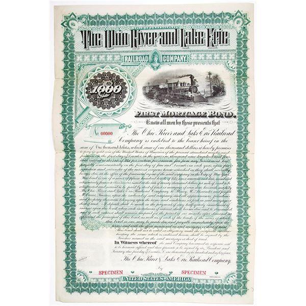 Ohio River and Lake Erie Railroad Co. 1884 Specimen Bond