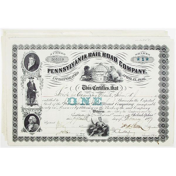 Pennsylvania Rail Road Co. Stock Certificate Group of 10, ca. 1897-1901 With Printed Share Amounts.