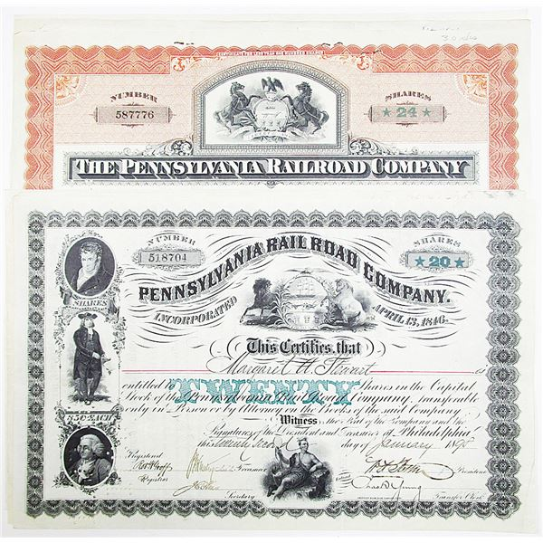 Pennsylvania Rail Road Co. Stock Certificate Group of 6, ca. 1898-1903 With Printed Share Amounts.