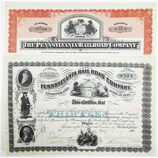 Pennsylvania Rail Road Co. Stock Certificate Group of 8, ca. 1891-1903 With Printed Share Amounts.