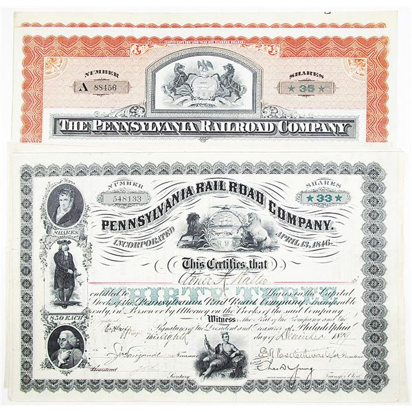 Pennsylvania Rail Road Co. Stock Certificate Group of 9, ca. 1898-1903 With Printed Share Amounts.