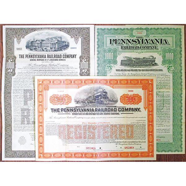 Pennsylvania Railroad Co. Specimen Bond Trio, ca.1902-1931