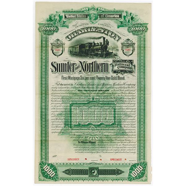 Charleston Sumter & Northern Railroad Co. 1890. Specimen Bond.