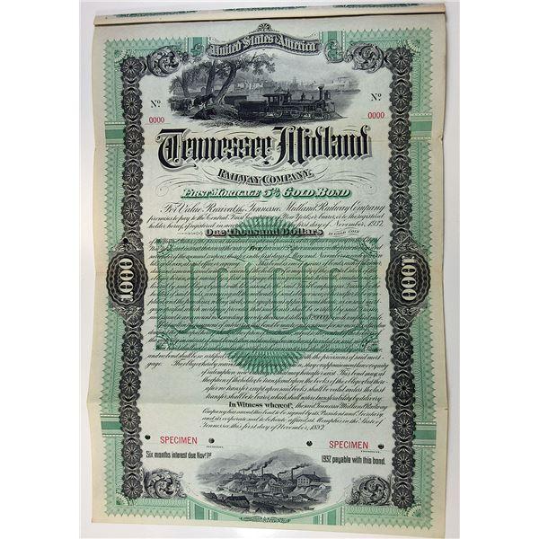 Tennessee Midland Railway Co., 1887 Specimen Bond.