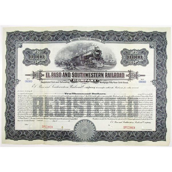 El Paso and Southwestern Railroad Co. 1915 Specimen Bond