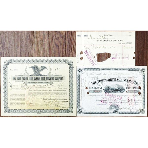 Fort Worth & Denver City Railway Co. 1899 Pair of I/C Stock Certificates & Stock Broker Order Form R
