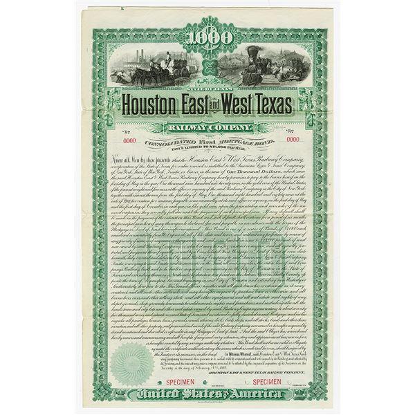 Houston East and West Texas Railway Co. 1889 Specimen Bond