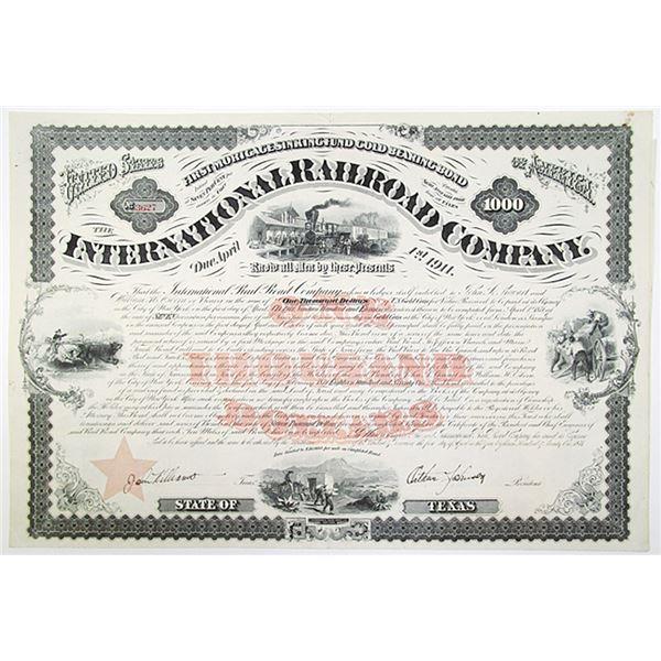 International Railroad Co. 1871 U/U Bond.