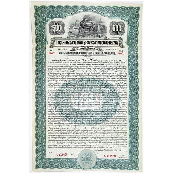 International-Great Northern Railroad Co. 1922 Specimen Bond
