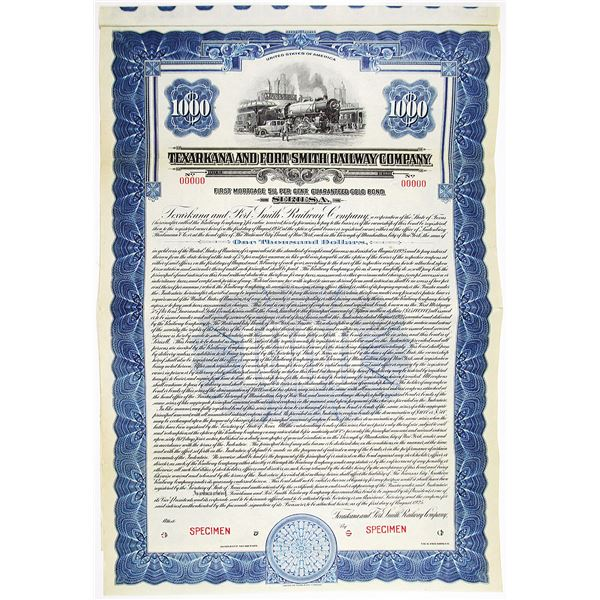 Texarkana and Fort Smith Railway Co. 1925 Specimen Bond Rarity