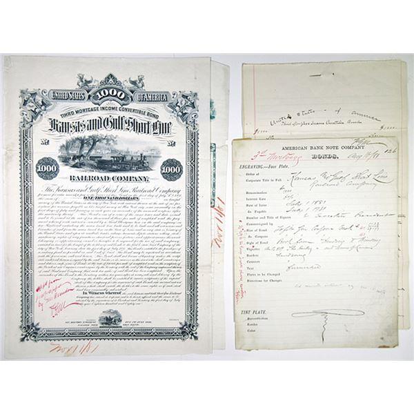 Kansas & Gulf Short Line Railroad Co., 1881 Unique Approval Proof Bond Certificate + Production File
