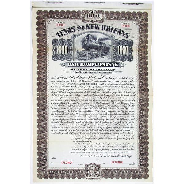 Texas and New Orleans Railroad Co. 1900 Specimen Bond