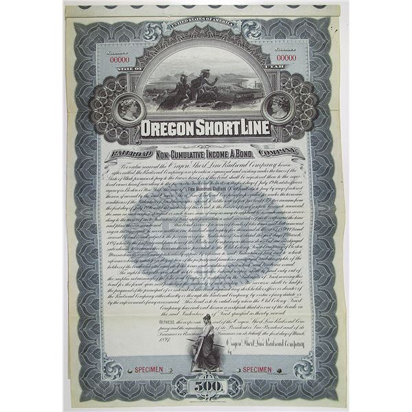 Oregon Short Line Railroad Co. 1897 Specimen Bond Rarity
