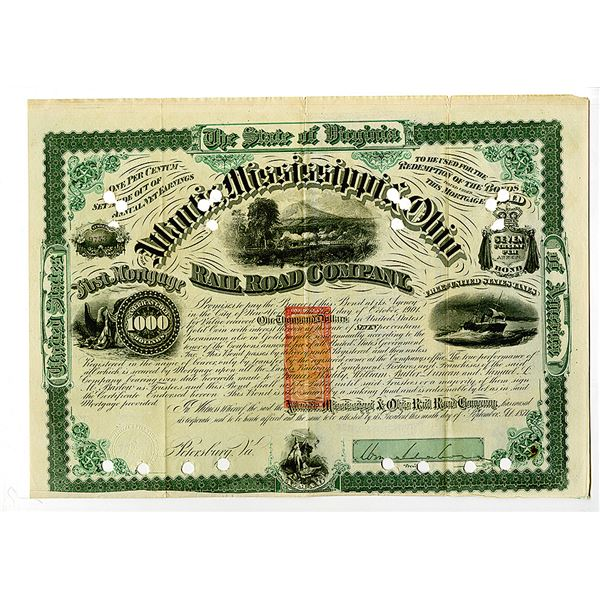 Atlantic, Mississippi & Ohio Rail Road Co. 1871 Bond, Signed by Civil War Maj. General William Mahon