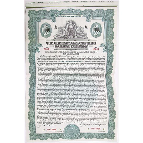 Chesapeake and Ohio Railway Co. 1928 Specimen Bond Rarity