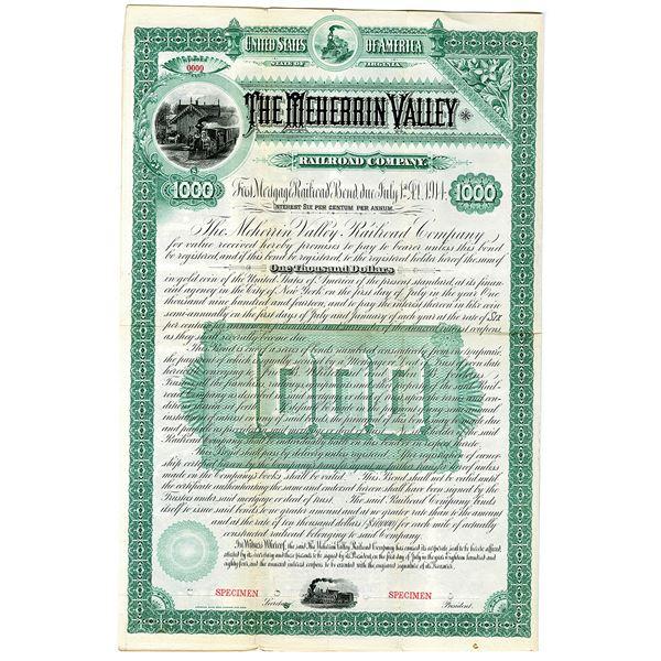 Meherrin Valley Railroad Co. 1884 Specimen Bond Rarity