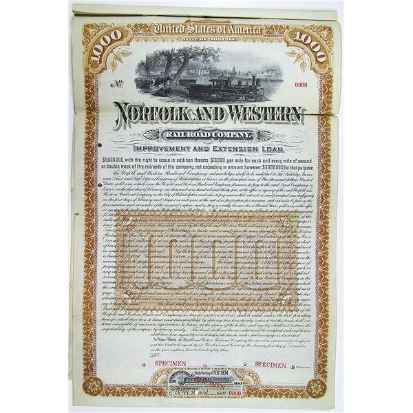 Norfolk and Western Railroad Co. 1883 Specimen Bond