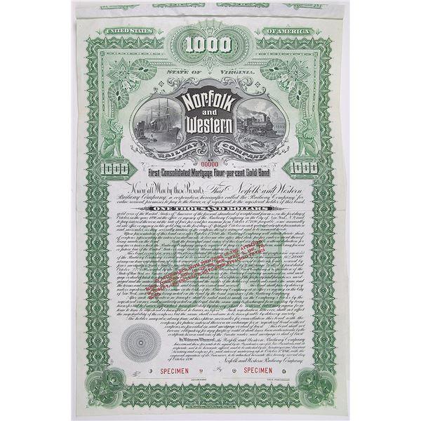Norfolk and Western Railway Co. 1896 Specimen Bond