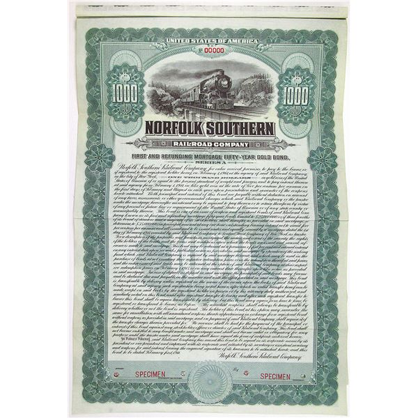 Norfolk Southern Railroad Co. 1911 Specimen Bond