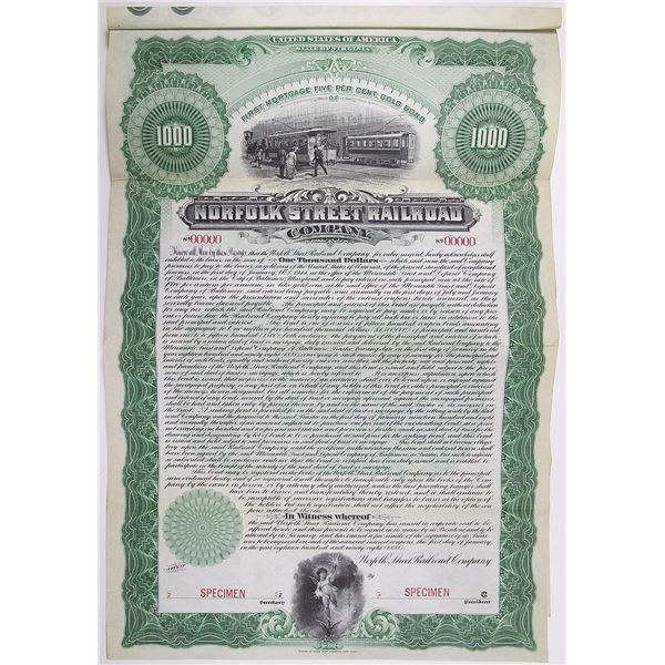 Norfolk Street Railroad Co. 1898 Specimen Bond