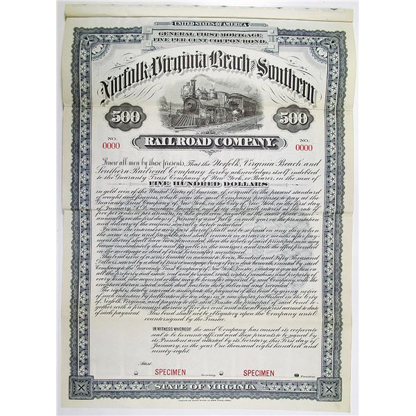 Norfolk, Virginia Beach and Southern Railroad Co. 1898 Specimen Bond Rarity