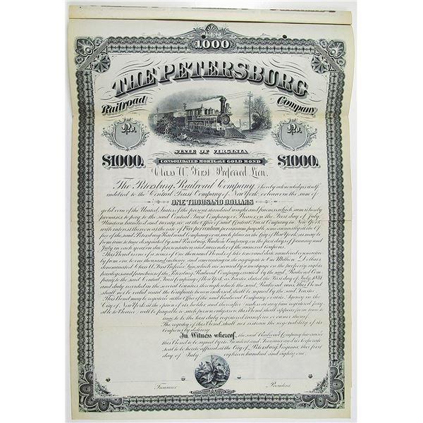 Petersburg Railroad Co. 1881 Specimen Bond
