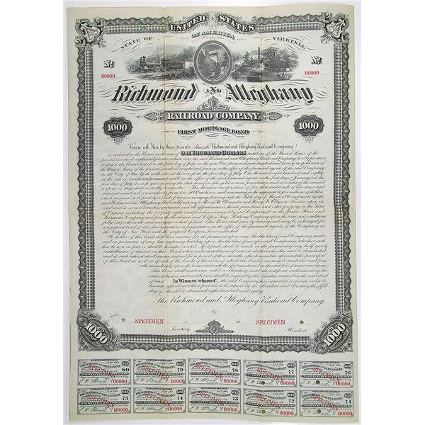 Richmond and Alleghany Railroad Co. 1880 Specimen Bond