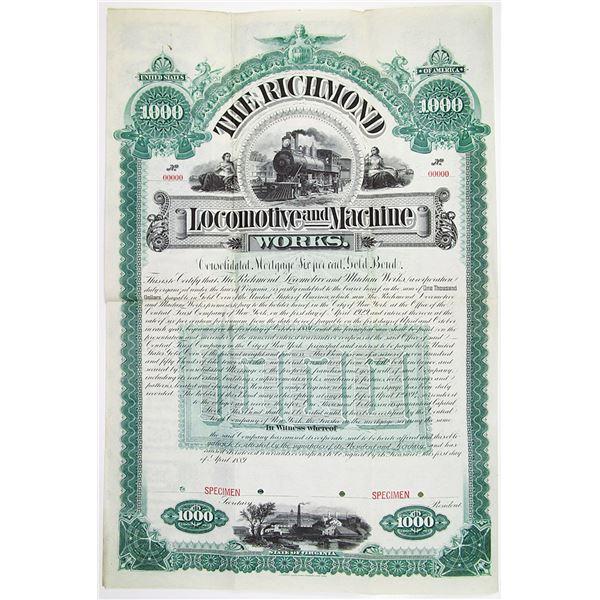 Richmond Locomotive and Machine Works 1889 Specimen Bond