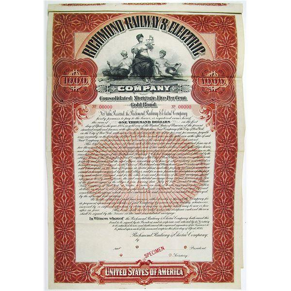 Richmond Railway & Electric Co. 1895 Specimen Bond Rarity