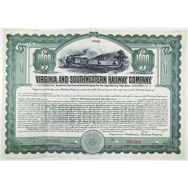 Virginia and Southwestern Railway Co. 1908 Specimen Bond