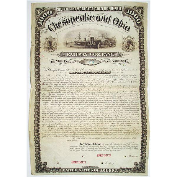 Chesapeake and Ohio Railway Co. 1881 Specimen Bond