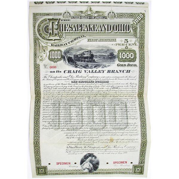 Chesapeake and Ohio Railway Co. 1890 Unique Specimen Bond Rarity