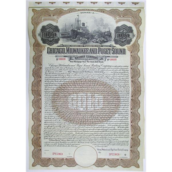 Chicago, Milwaukee and Puget Sound Railway Co. 1909 Specimen Bond