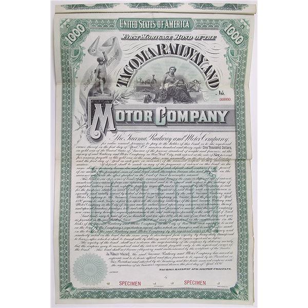 Tacoma Railway and Motor Co. 1890 Specimen Bond Rarity