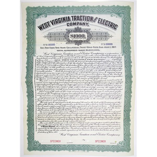 West Virginia Traction and Electric Co. 1915 Specimen Bond