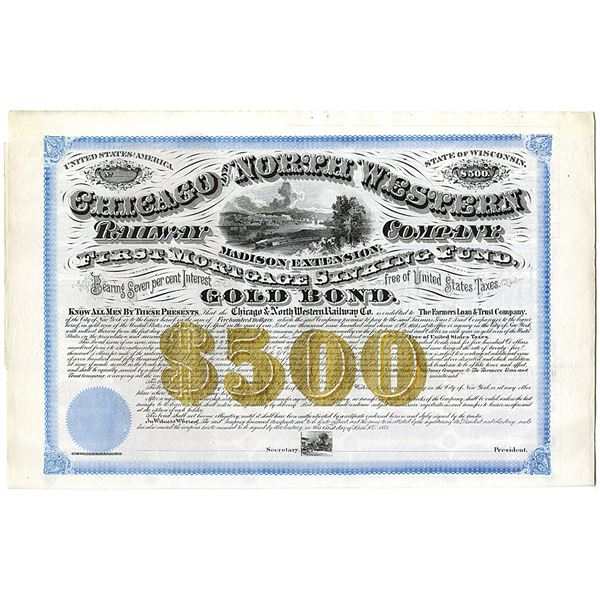 Chicago and North Western Railway Co., Madison Extension, 1871 Unlisted Railroad $500 Specimen Bond