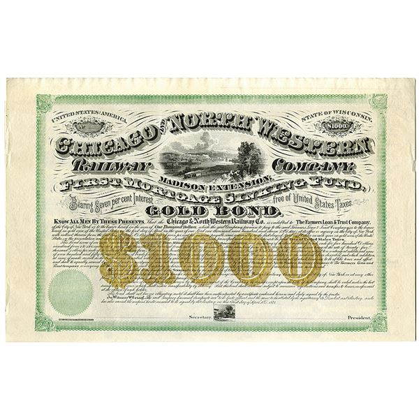 Chicago and North Western Railway Co., Madison Extension, 1871 Unlisted Railroad $1000 Specimen Bond
