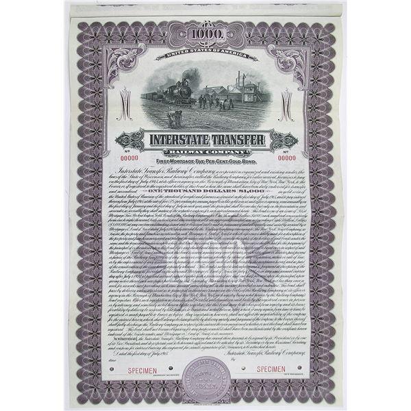 Interstate Transfer Railway Co. 1915 Specimen Bond