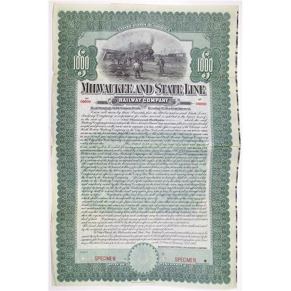 Milwaukee and State Line Railway Co. 1906 Specimen Bond Rarity