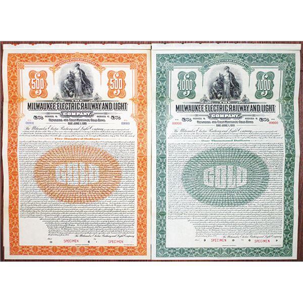 "Milwaukee Electric Railway and Light Co. 1921 ""Series B"" Specimen Bond Pair"