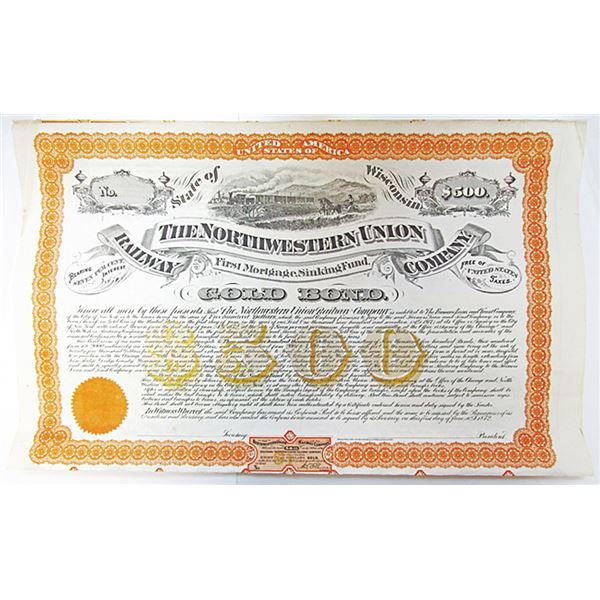 Northwestern Union Railway Co. 1872 Listed Railroad but no Examples known, $500 Specimen Bond Rarity