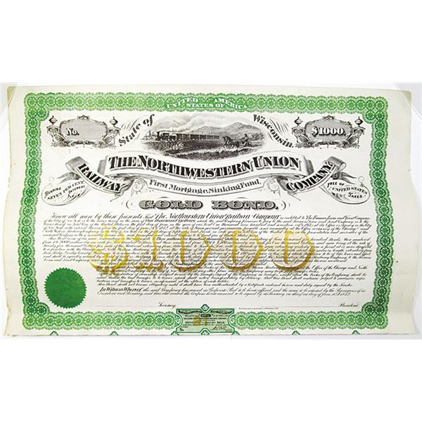 Northwestern Union Railway Co. 1872 Listed Railroad but no Examples known, $1000 Specimen Bond Rarit