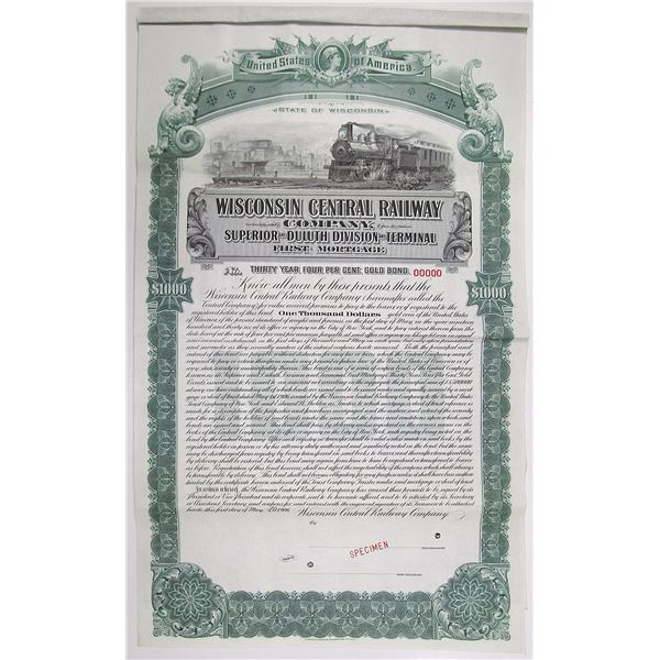 Wisconsin Central Railway Co., Superior and Duluth Division and Terminal, 1906 Specimen Bond